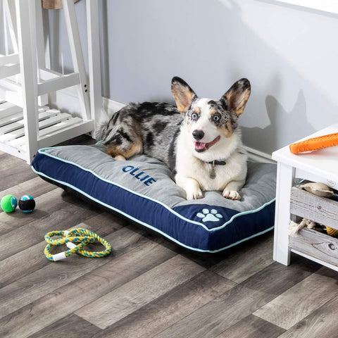 Personalized Pet Bed - Blue & Gray with Seafoam Piping