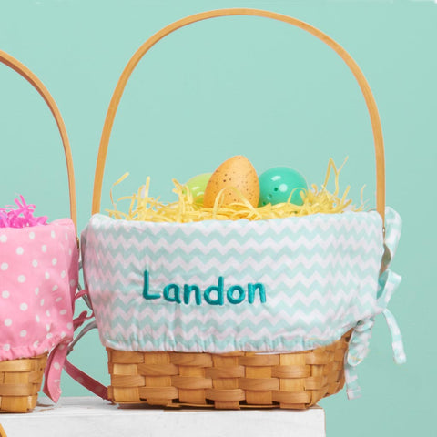 Personalized Woodchip Easter Basket - Mint Chevron