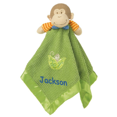 Personalized Mango Monkey Blanket & Toy - 17 Inch - Blue Embroidery