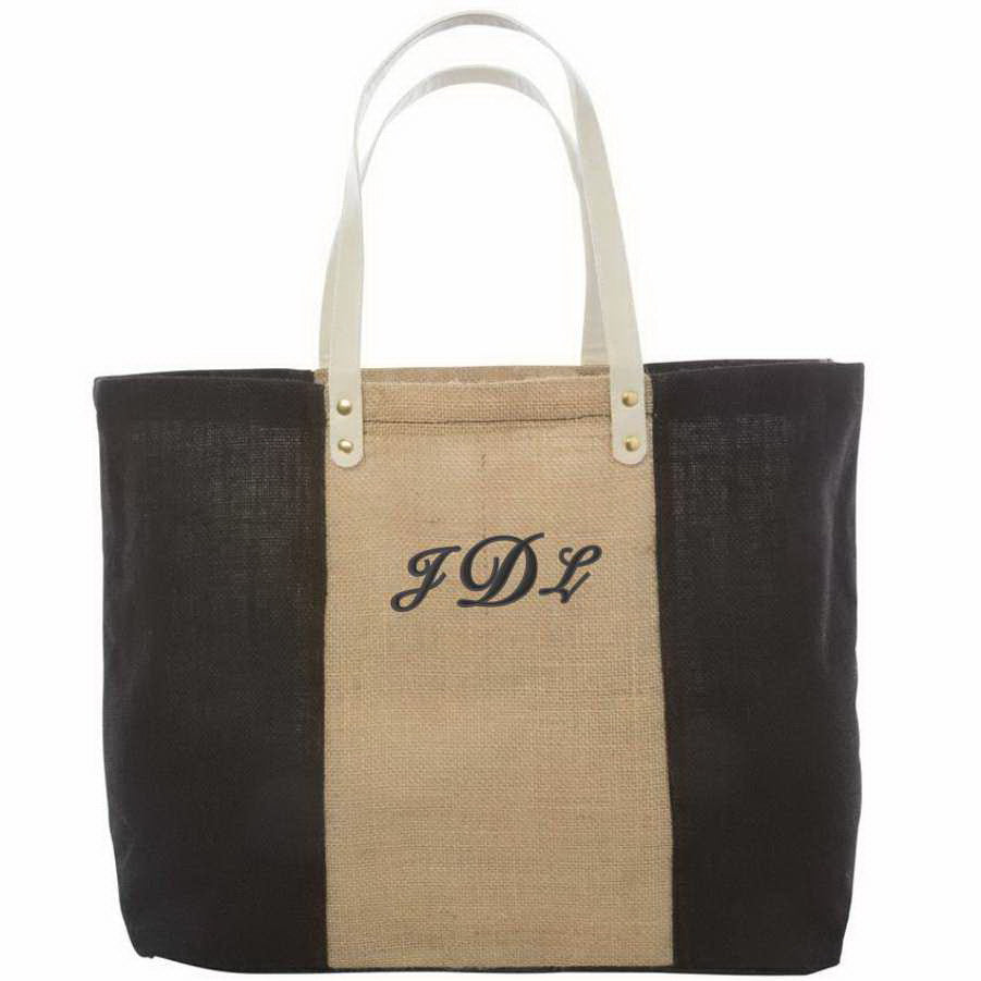fashionable jute tote bag with monogram dibsies personalization