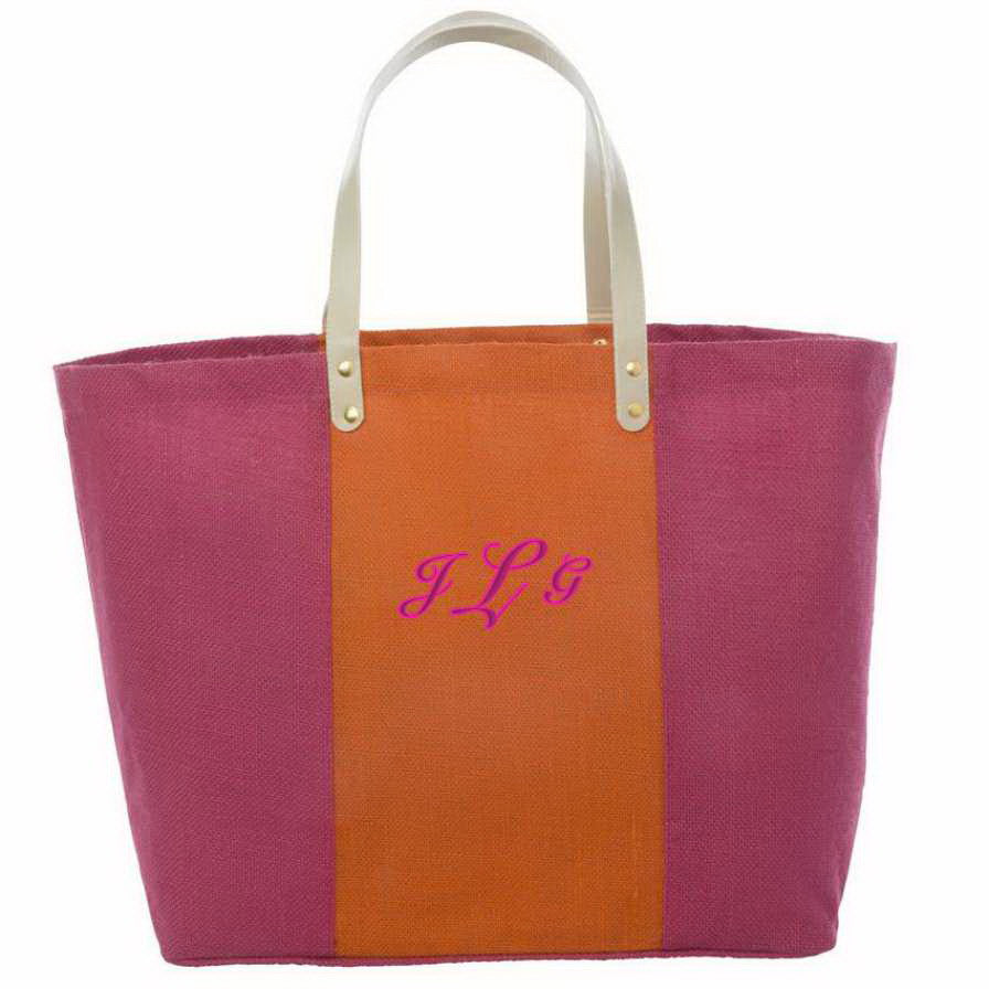 Fashionable Jute Tote Bag With Monogram