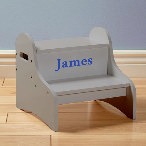 Personalized Dibsies Step Stool with Storage - Gray - Boys