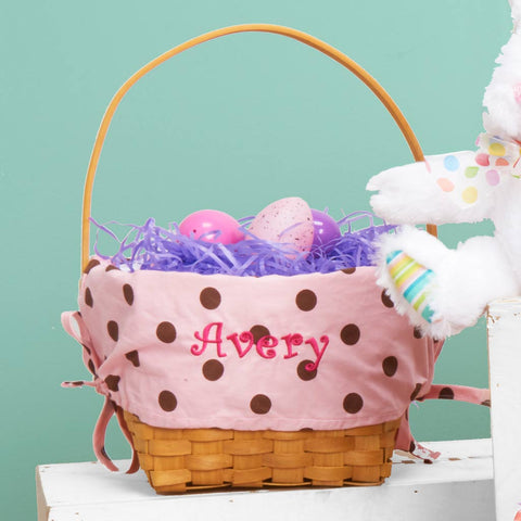 Personalized Woodchip Easter Basket - Pink with Chocolate Polka Dots
