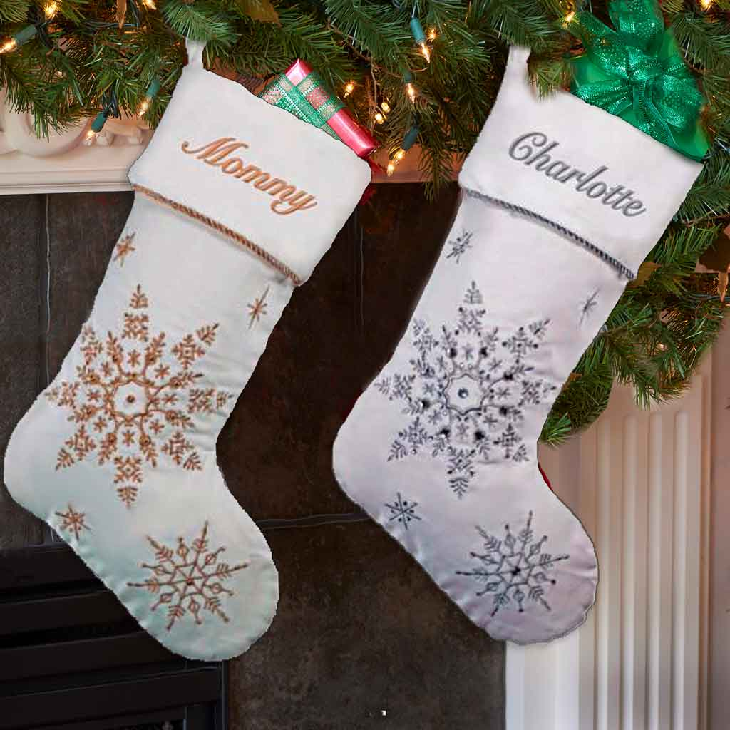 Personalized Silver Sparkling Snowflakes Christmas Stocking