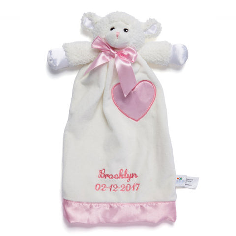 Personalized Baptism Gift - Lovable Lamb Security Blanket - 15 inch - Pink Embroidery