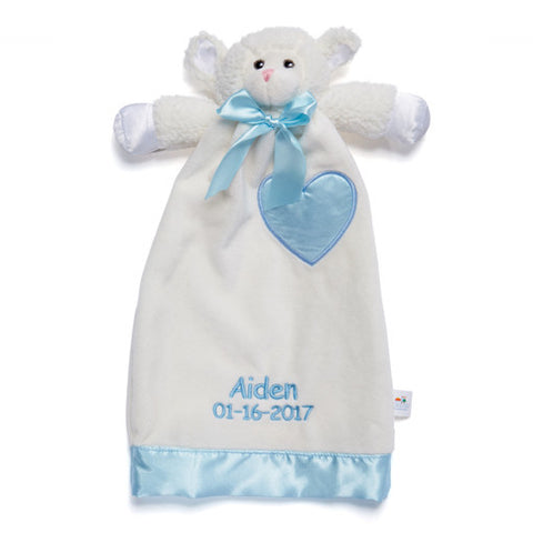 Personalized Baptism Gift - Lovable Lamb Security Blanket - 15 inch - Blue Embroidery