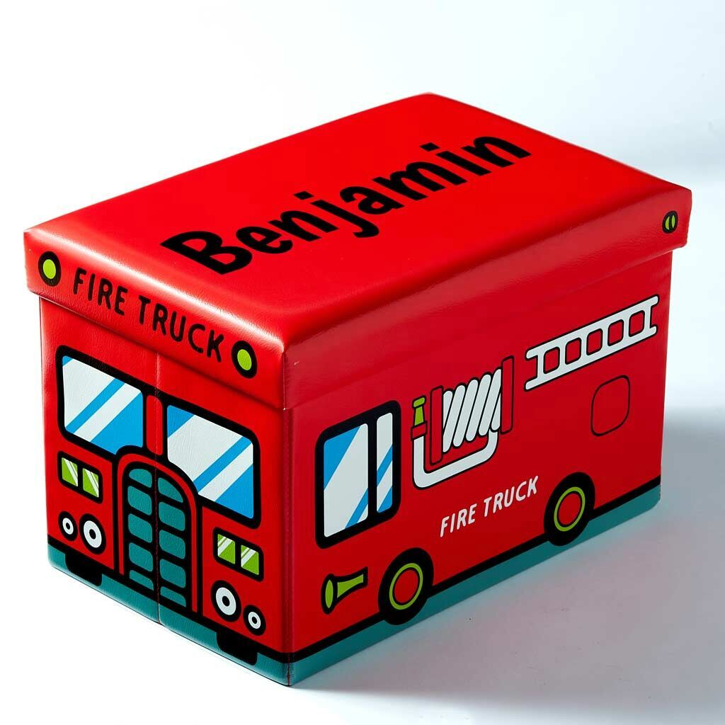 Dibsies Personalized Collapsible Junior Toy Box Fire Truck Dibsies Personalization Station