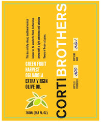 Corti Brothers Green Harvest Ogliarola Extra Virgin Olive Oil 750 ml