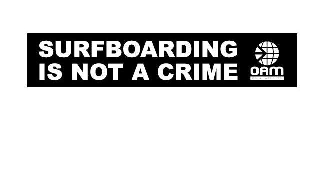 Surfboarding Is Not A Crime Sticker