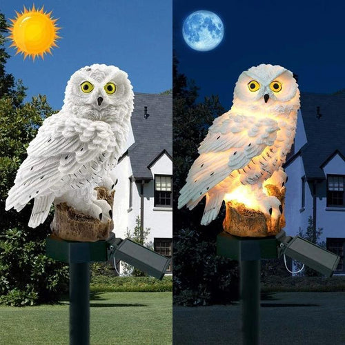 Solar Powered Waterproof LED Owl Garden Lamp