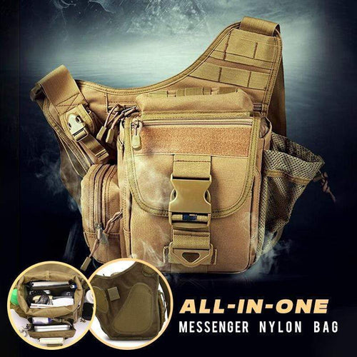 All-in-one Nylon Messenger Bag Khaki gotolovely