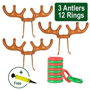 Christmas Reindeer Antler Ring Toss Game Family Set + Pump (Free) gotolovely