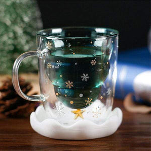 Christmas Tree Double Layer Glass Cup gotolovely