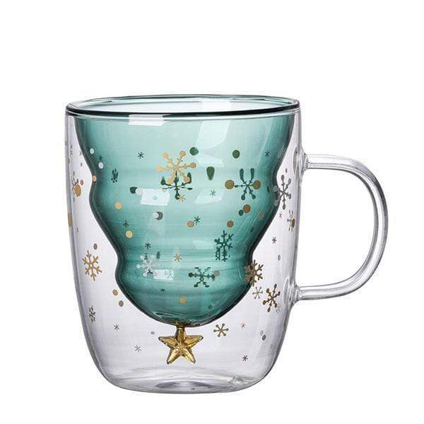 Christmas Tree Double Layer Glass Cup SINGLE CUP gotolovely