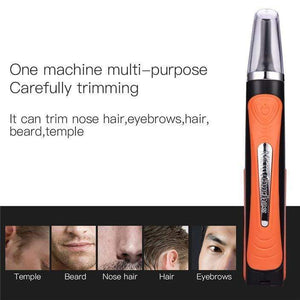 Men's nose hair trimmer razor multi-function double-head shaving device with 2 LED 7-cell battery gotolovely
