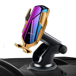 R2 Automatic Clamping Wireless Car Charger, 10W Fast Charging Mount Simple Fast Car Charger Gold - with Air Vent Clip and Dashboard Mount gotolovely