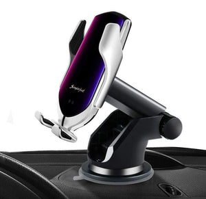 R2 Automatic Clamping Wireless Car Charger, 10W Fast Charging Mount Simple Fast Car Charger Silver -  with Air Vent Clip and Dashboard Mount gotolovely