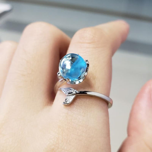 Mermaid Creative Fishtail Opening Rings With Blue Crystal Stone Resizable Rings kily