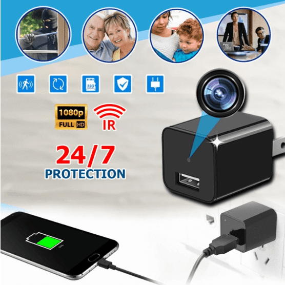 USB Charger Security Camera Charger Camera(Black)-US PLUG gotolovely
