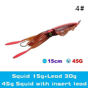 UV Luminous Realistic Squid Soft Lures 4#3Pcs / Without lead gotolovely