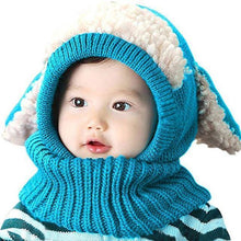 Load image into Gallery viewer, Warm Cozy Bunny Scarf-Beanie Blue gotolovely