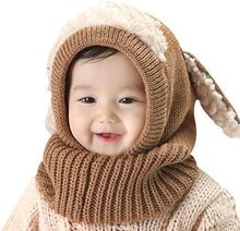 Load image into Gallery viewer, Warm Cozy Bunny Scarf-Beanie Brown gotolovely