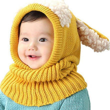 Load image into Gallery viewer, Warm Cozy Bunny Scarf-Beanie Yellow gotolovely