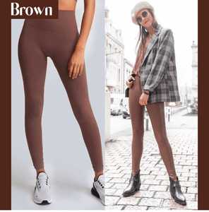 Winter Fleece Lined Stretchy Leggings Brown gotolovely