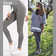 Load image into Gallery viewer, Winter Fleece Lined Stretchy Leggings Gray gotolovely