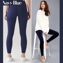 Load image into Gallery viewer, Winter Fleece Lined Stretchy Leggings Navy Blue gotolovely