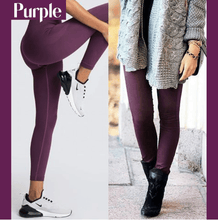 Load image into Gallery viewer, Winter Fleece Lined Stretchy Leggings Purple gotolovely