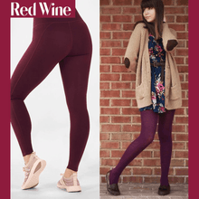 Load image into Gallery viewer, Winter Fleece Lined Stretchy Leggings Wine Red gotolovely