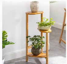 Load image into Gallery viewer, 3 Tiered Corner Wooden Flower and Plant Stand for Indoor Living Room Balcony