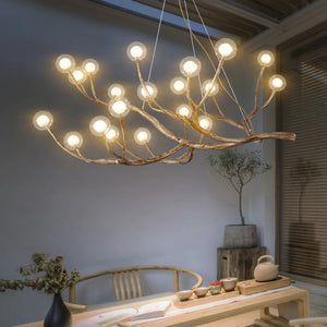 Nordic Rustic Tree Branch  Hanging Chandelier with Bubble Glass lighting