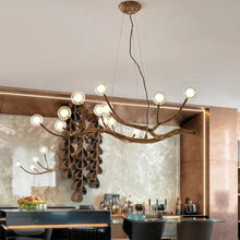 Load image into Gallery viewer, Nordic Rustic Tree Branch  Hanging Chandelier with Bubble Glass lighting