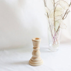 Natural Unfinished Wood Candlestick Holders - DIY Unpainted Wedding Accents, Home Decor, Cake Tier Spacer, Wedding Decor, Wax Candlestick Holder