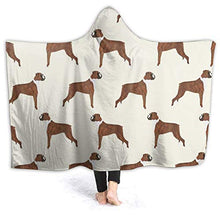 Load image into Gallery viewer, Soft Cozy Hooded Throw Wrap for Sofa Couch Winter/Autumn, Large Throw Wearable Cuddle Keep Warm Sherpa Plus Velvet Camping Blankets (Boxer Dog Pattern Dog Lover Pet Blankets)