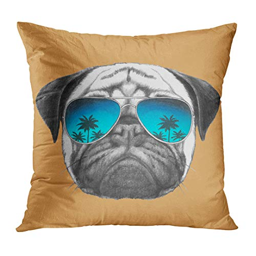 LOULNN Throw Pillow Cover Funny Portrait of Pug Dog with Mirror Sunglasses Graphic Love Glasses Decorative Pillow Case Home Decor Square 16x16 Inches Pillowcase