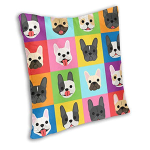 QWESSD French Bulldog Faces Background Pop Art Style 462 Square Throw Pillow Covers Set Cushion Case Square Colorful Funny Bed Home Decor 18x18 Inch