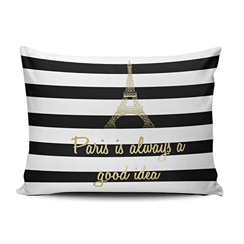 WEINIYA Bedroom Custom Decor Paris is Always a Good Idea Gold and White Throw Pillow Cover Cushion Case Fashion One Sided Printed Design Boudoir 12x16 Inches