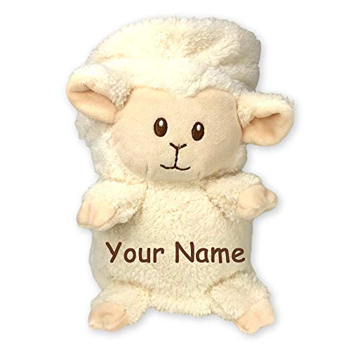 Personalized White Lamb My Pet Blankie Plush Blanket Toy for Boys or Girls with Custom Name