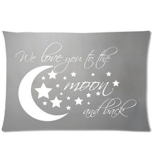 Load image into Gallery viewer, Amy Like Pillowcases Custom I Love You To The Moon and Back Pillowcase 12 x 20 Inches Zippered Pillow Cover Cases
