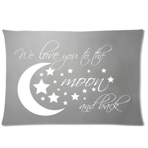Amy Like Pillowcases Custom I Love You To The Moon and Back Pillowcase 12 x 20 Inches Zippered Pillow Cover Cases