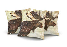 Load image into Gallery viewer, WEINIYA Home Decoration Throw Pillow Case Brown 22X22 Inch Moose and Bear Wildlife in The Snow Square Custom Pillowcase Cushion Cover Double Sided Printed