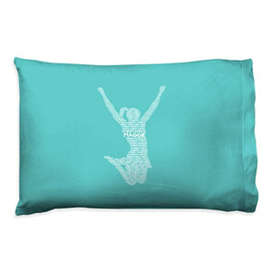 ChalkTalkSPORTS Personalized Cheerleading Pillowcase  Cheer Words with Custom Name  Teal