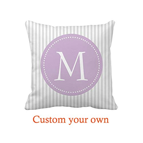 Goodesigns Gray and White Stripes Purple Custom Monogram Throw Pillow Cover Case 16 x 16inch Home Decorative Cushion Cover for Couch