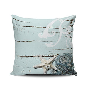 Fanaing Bedroom Custom Decor Beach and Starfish Pillowcase Soft Zippered Gray and Aqua Turquoise Throw Pillow Cover Cushion Case Fashion Design One-Side Printed Boudoir 12X16 Inches