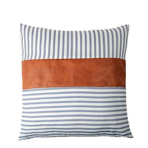 Eiyye 4-Pack Pillow Case Throw Pillow Covers for Couch Sofa Stripe Faux Leather Farmhouse Decorative Modern Decor 18 x 18 Inches