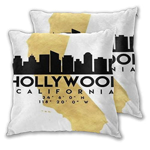 2 Pairs California Hollywood Silhouette Art Photographic Map Throw Pillow Home Decor Couch Cushion Case Decorative Accent Pillow Case Custom Pillow Covers Pillowslip Cushion Cases With Zipper