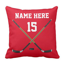 Load image into Gallery viewer, Emvency Throw Pillow Cover Red Ideas Personalized Hockey Name Number Black Boys Decorative Pillow Case Home Decor Square 20 x 20 Inch Pillowcase